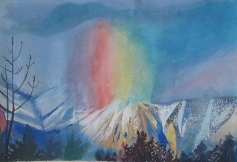 Icy mountains painting with surreal sky by Daisy Clarke