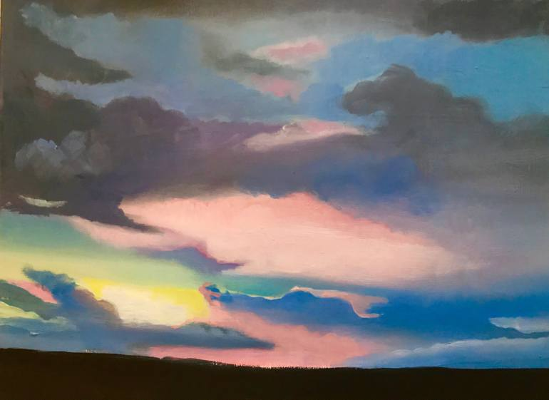 Massive sky sunset painting by Daisy Clarke