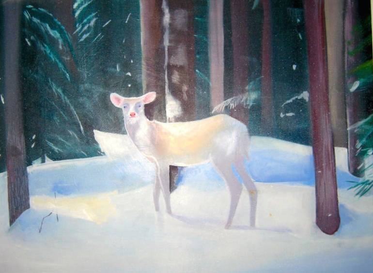 Painting of white deer in forest by Daisy Clarke